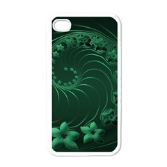 Dark Green Abstract Flowers Apple iPhone 4 Case (White)