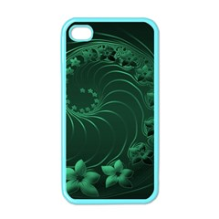Dark Green Abstract Flowers Apple iPhone 4 Case (Color)