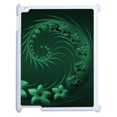 Dark Green Abstract Flowers Apple iPad 2 Case (White)