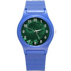 Dark Green Abstract Flowers Plastic Sport Watch (small)