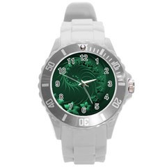Dark Green Abstract Flowers Plastic Sport Watch (Large)
