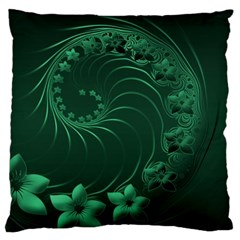 Dark Green Abstract Flowers Large Cushion Case (One Side)