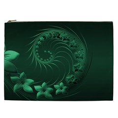 Dark Green Abstract Flowers Cosmetic Bag (XXL)