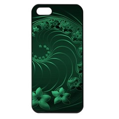 Dark Green Abstract Flowers Apple iPhone 5 Seamless Case (Black)