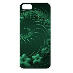 Dark Green Abstract Flowers Apple iPhone 5 Seamless Case (White)