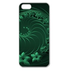 Dark Green Abstract Flowers Apple Seamless iPhone 5 Case (Clear)