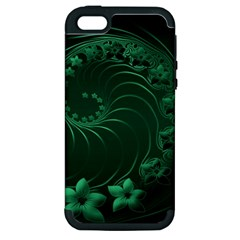 Dark Green Abstract Flowers Apple Iphone 5 Hardshell Case (pc+silicone)