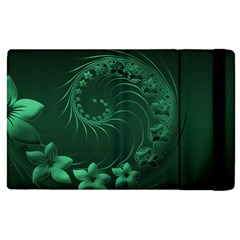 Dark Green Abstract Flowers Apple iPad 3/4 Flip Case