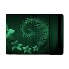 Dark Green Abstract Flowers Apple iPad Mini Flip Case
