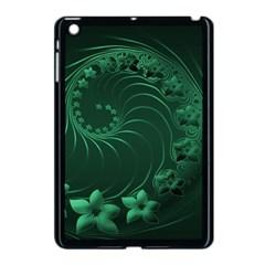 Dark Green Abstract Flowers Apple iPad Mini Case (Black)