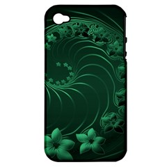 Dark Green Abstract Flowers Apple iPhone 4/4S Hardshell Case (PC+Silicone)