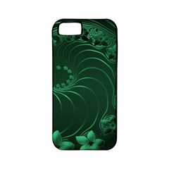 Dark Green Abstract Flowers Apple iPhone 5 Classic Hardshell Case (PC+Silicone)