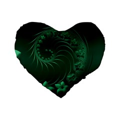 Dark Green Abstract Flowers 16  Premium Heart Shape Cushion