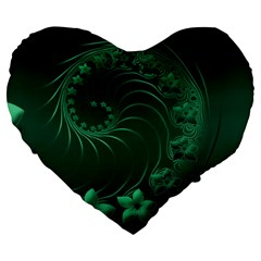 Dark Green Abstract Flowers 19  Premium Heart Shape Cushion