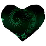 Dark Green Abstract Flowers 19  Premium Heart Shape Cushion Back