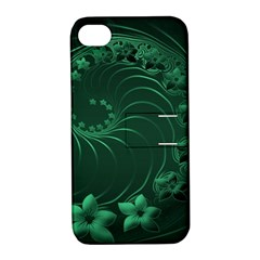 Dark Green Abstract Flowers Apple iPhone 4/4S Hardshell Case with Stand