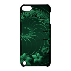 Dark Green Abstract Flowers Apple iPod Touch 5 Hardshell Case with Stand
