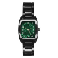Dark Green Abstract Flowers Men s Stainless Steel Barrel Analog Watch