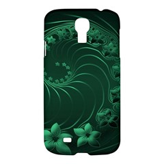 Dark Green Abstract Flowers Samsung Galaxy S4 I9500 Hardshell Case