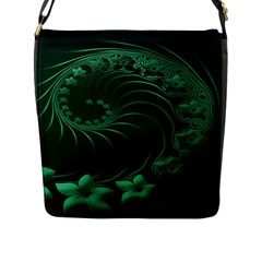 Dark Green Abstract Flowers Flap Closure Messenger Bag (Large)