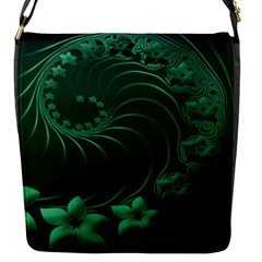 Dark Green Abstract Flowers Flap closure messenger bag (Small)
