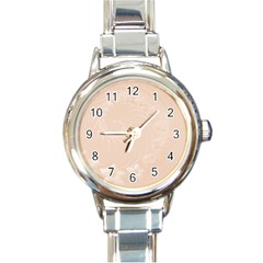 Pastel Brown Abstract Flowers Round Italian Charm Watch