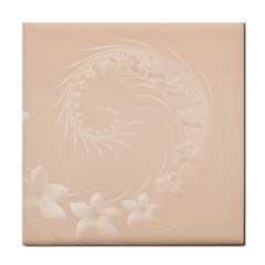 Pastel Brown Abstract Flowers Ceramic Tile