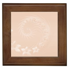 Pastel Brown Abstract Flowers Framed Ceramic Tile
