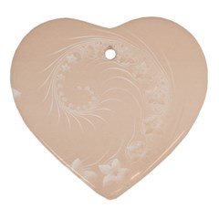 Pastel Brown Abstract Flowers Heart Ornament