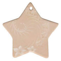 Pastel Brown Abstract Flowers Star Ornament