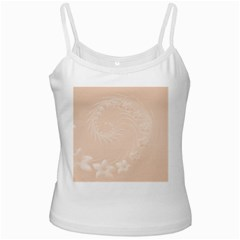 Pastel Brown Abstract Flowers White Spaghetti Tank