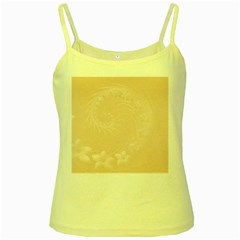 Pastel Brown Abstract Flowers Yellow Spaghetti Tank