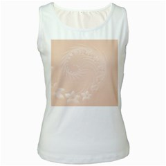 Pastel Brown Abstract Flowers Womens  Tank Top (White)