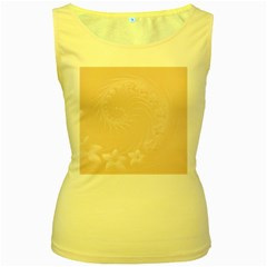Pastel Brown Abstract Flowers Womens  Tank Top (Yellow)