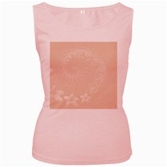 Pastel Brown Abstract Flowers Womens  Tank Top (pink)