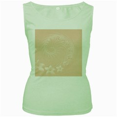Pastel Brown Abstract Flowers Womens  Tank Top (Green)
