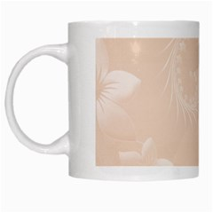 Pastel Brown Abstract Flowers White Coffee Mug