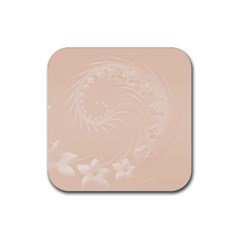 Pastel Brown Abstract Flowers Drink Coaster (Square)