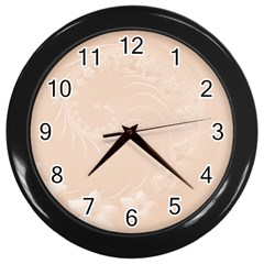 Pastel Brown Abstract Flowers Wall Clock (black)