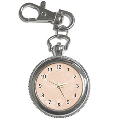 Pastel Brown Abstract Flowers Key Chain & Watch