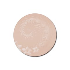 Pastel Brown Abstract Flowers Drink Coaster (Round)