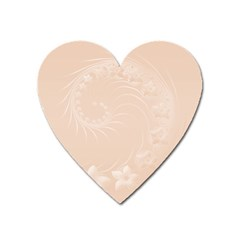Pastel Brown Abstract Flowers Magnet (Heart)