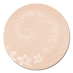 Pastel Brown Abstract Flowers Magnet 5  (Round)