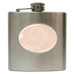 Pastel Brown Abstract Flowers Hip Flask