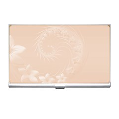 Pastel Brown Abstract Flowers Business Card Holder