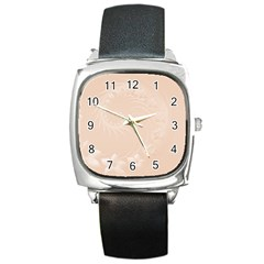 Pastel Brown Abstract Flowers Square Leather Watch