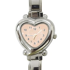 Pastel Brown Abstract Flowers Heart Italian Charm Watch