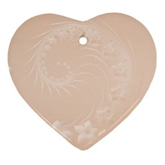 Pastel Brown Abstract Flowers Heart Ornament (two Sides)
