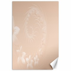 Pastel Brown Abstract Flowers Canvas 20  X 30  (unframed)