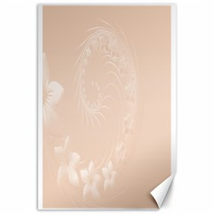 Pastel Brown Abstract Flowers Canvas 24  x 36  (Unframed)